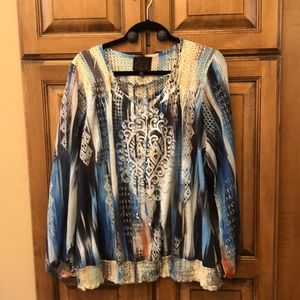 French Blue 2x Long sleeve blouse
